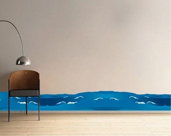 Waves Bedroom Wall Decals Kids Designs Waves Peel and Stick Murals Wall Decal, Sea Wall Sticker, Sea Wall Decal, Waves Wall Sticker, n13