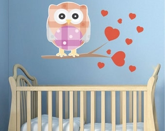 Nursery Owl Decal Mural, Owl Wall Sticker, Kids' Room Wall Art Decals, Nursery Owls, Removable Owl Wall Adhesives, Owl Bedroom Decor, n24