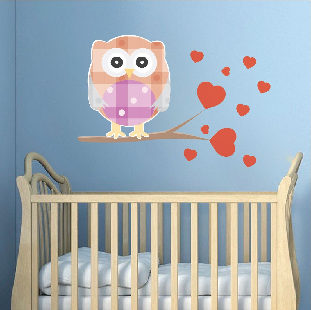 nursery owl decal mural owl wall sticker kids 39 room by primedecal. Black Bedroom Furniture Sets. Home Design Ideas