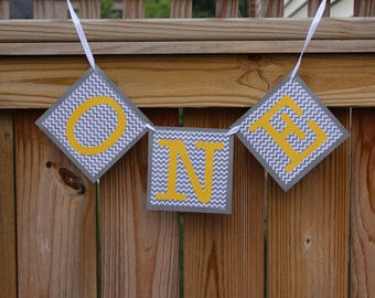 ONE Banner-Grey and Yellow Banner- First Birthday Banner-Highchair Banner- Yellow and Grey Party Decor-Chair Decor-Smash cake Decor