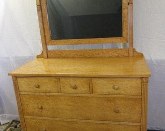 Restored Birds-eye Maple Dresser with Mirror