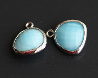 A2-000-R-MB] Milk Blue / 13 x 16mm / Rhodium plated / Glass Pendant / 2 pieces