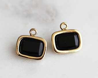 A2-057-G-ON] Onyx / 9 X 7mm / Gold plated / Rectangle Glass Pendant / 2 pieces