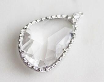 A2-188-R-C] LEFT Crystal / 24 x 40mm / Rhinestone / Rhodium plated / Glass Pendant / 1 piece(s)