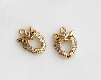 P0-627-G] Cz Cubic Owl / 9 x 14mm / Gold plated / Pendant / 1 piece(s)