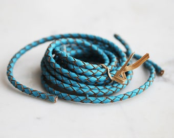 T9-266-4-TQ] Turquoise / 4mm / Leather / Braided Jewelery Cord / 1 meter(s)