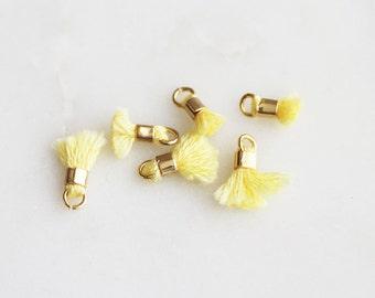 T9-012-S-727] Yellow / 8mm / Mini Tassel / 6 piece(s)