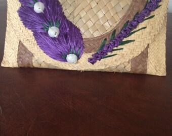 Woman's Vintage Handmade Weaved Seashell Palm Clutch Purse