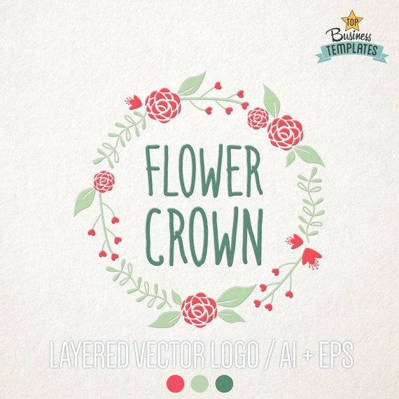flower crown logo design vector logo hand drawn logo