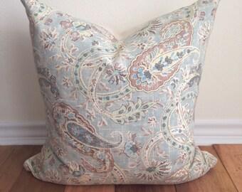 Light Blue Paisley- Throw Pillow Cover- Richloom Caitlin Horizon- Linen Blend 20 x 20