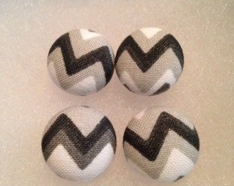 Black and White Chevron Fabric Button Earrings