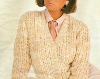 Lady's Knitting Pattern Lacy Cardigan 32 - 42 inches