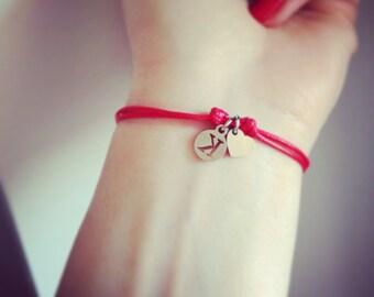 Letter Bracelet, Initial Bracelet, Red Thread Bracelet, Red initial Amulet Bracelet, Customizable Bracelet, Letter Personalized Bracelet