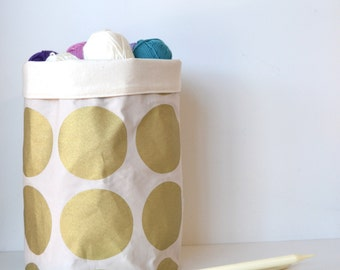 Metallic Gold Polka Dot Storage Basket