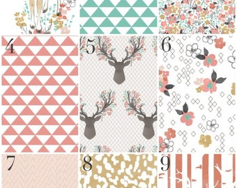 Custom Crib Bedding - Modern Woodland Baby Girl, Deer, Coral, Aqua, Gold