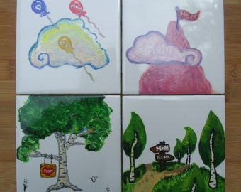 Gift-Hand-painted 4x4 Ceramic Tiles - Set of 4 - Decorative Art or Drink Coasters