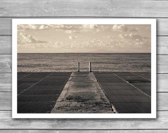 Look to Horizon, Seascape Photography, Sea Pier, Caribbean, Sepia Art Photo, Photo Art Prints, Sepia Photography, bw photo, bw prints, Print