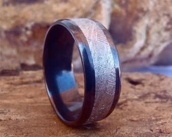Black Zirconium 9mm Beveled Edge Men's Band with 5mm Gibeon Meteorite Inlay and Polish Finish