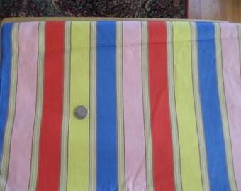 Vintage Fabric Yardage Bright Sateen Multi Striped