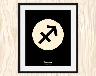SAGITTARIUS Astrological Print, Zodiac Art, Minimalist Fine Art Print Poster