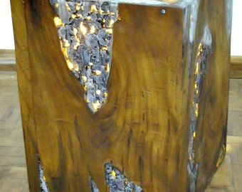 Teak Accent Cubes with Led Lighting