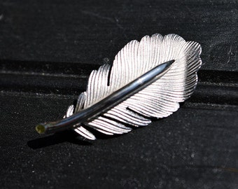 Silver Plated Feather Pin