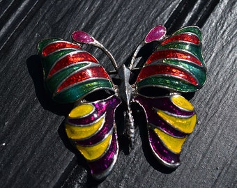 Vintage Multi-Color Butterfly Brooch