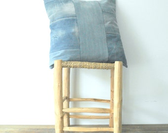 light blue -  recycled -  pathwork - jeans -  pillow cover -  cushion - white stars