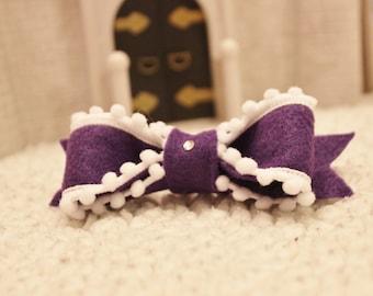 Sophia the 1st inspired Hair Clip with Purple Felt Hair Bow & Crystal...First Princess Hair Accessory...Choice of Clip.
