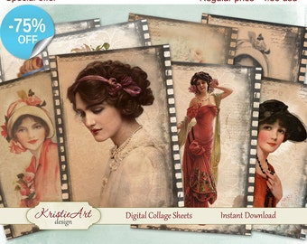 75% OFF SALE Digital Collage Sheets Vintage Film - Digital cards C071 printable download tags digital digital image atc aceo vintage woman