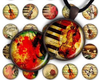 75% OFF SALE Digital Collage Sheet Music 1inch Round 30mm 25mm 20mm Circle Pendant Printable Download PC031 Instant Download Jewelry Making