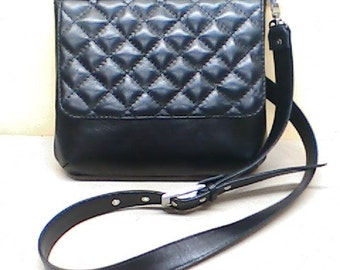 Genuine leather handmade black crossbody bag