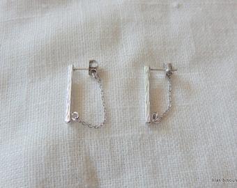 silver   plated bar chain    earrings