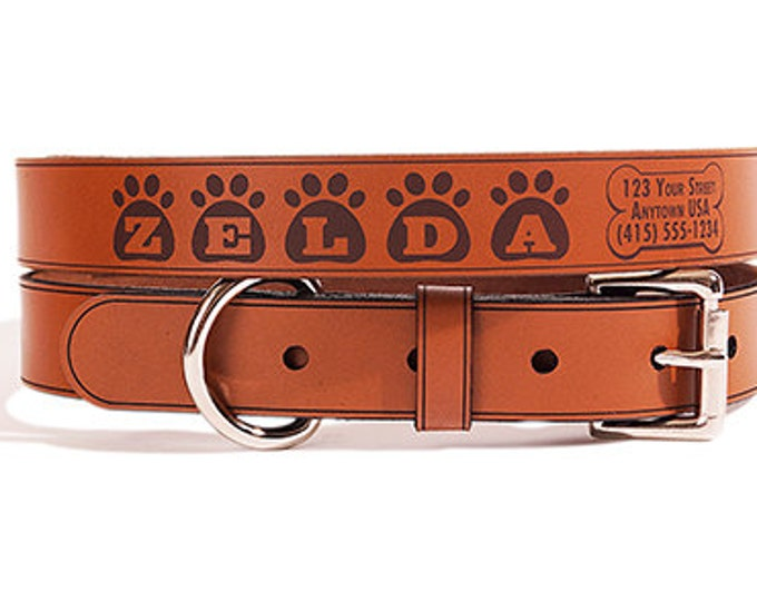 Personalized Leather ID Dog Collar, Medium Size, Zelda Design, Name & Contact Info Engraved FREE