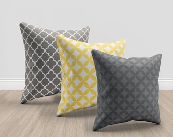3 Throw pillows, set of 3, modern, home decor, grey, yellow, grey, charcoal