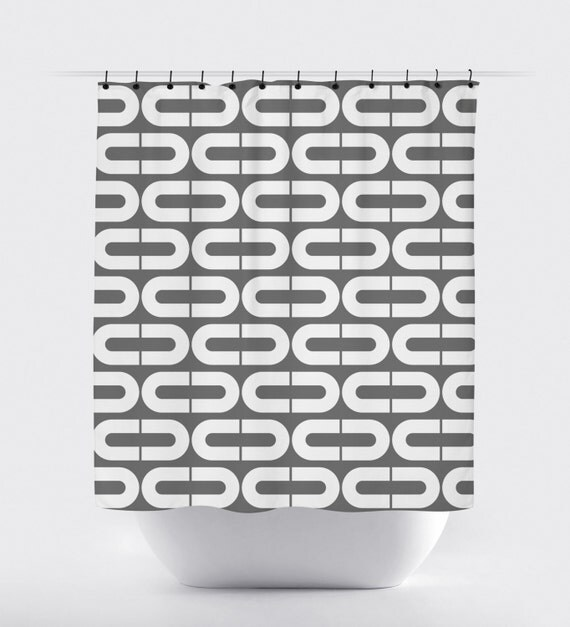 geometric fabric shower curtain, high quality shower curtain, grey ...