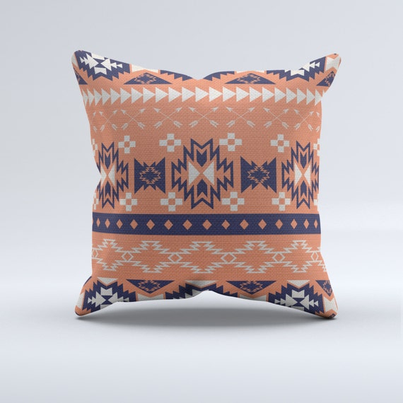 Blue Aztec Throw Pillows : Coral and blue aztec throw pillow throw pillow modern