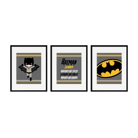 Canvas batman bathroom wall prints set of 3 by printartshoppe for Batman bathroom ideas