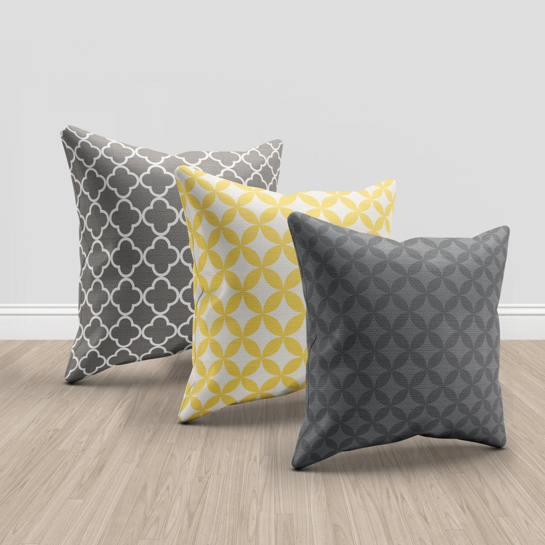 3 Throw pillows set of 3 modern home decor grey yellow