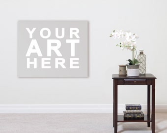 Wall Art Styled Room Mock-Up Download - Home Interior Wood Table With White Orchids Old Books and Glass Bottle