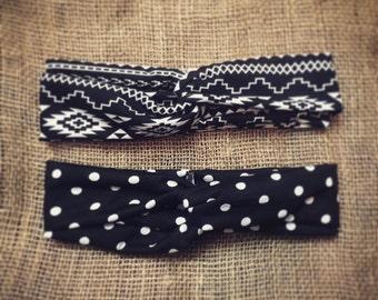 Black and White headband, Turban Headband, Polka Dot headband, Aztec Print headband, turban, boho headband, womens headband, adult headband