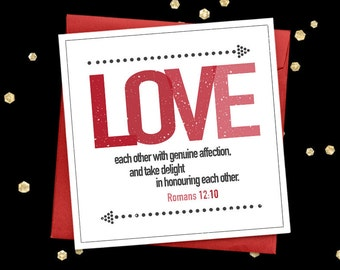 Christian love card Romans 12:10 quote greeting card Bible verse