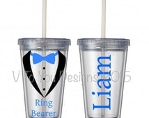 Ring Bearer Gift - Tumbler Cup - 16 ounce tumbler - clear with straw - tuxedo with bow tie and name - customizable - ring bearer gift cup