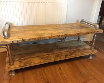 Scaffold board plank coffee table/ tv stand urban industrial gas pipe look