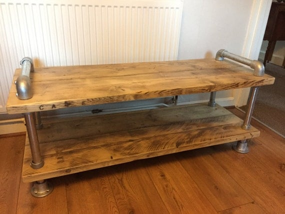 scaffold board plank coffee table tv stand urban industrial. Black Bedroom Furniture Sets. Home Design Ideas
