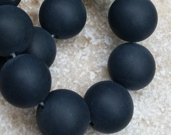 """Black Onyx Beads - 16mm round Smooth Matte Black Onyx Beads, perfect for your beading projects - FULL 16"""" strand (about 25 beads) - G538"""