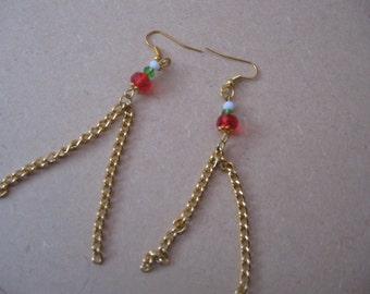 Gold plated long chain and bead earrings