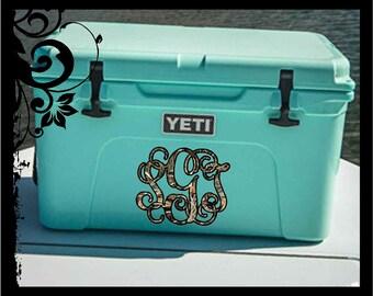 "Monogram ""Yeti Inspired"" Cooler Decal - Vine Script Initals; vinyl decals / camo / summer / cooler / fishing / ocean / boat / storage"