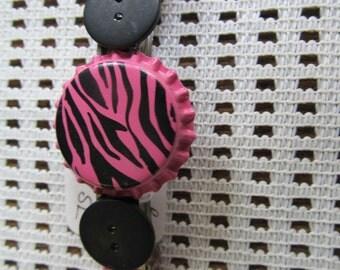 Zebra Bottle Cap Button Barrette