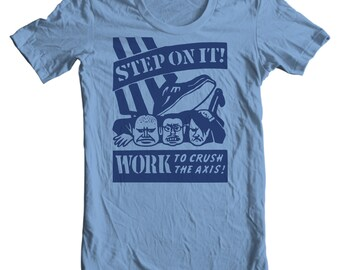 Step On It! Work To Crush The Axis WWII Vintage Matchbook T-shirt